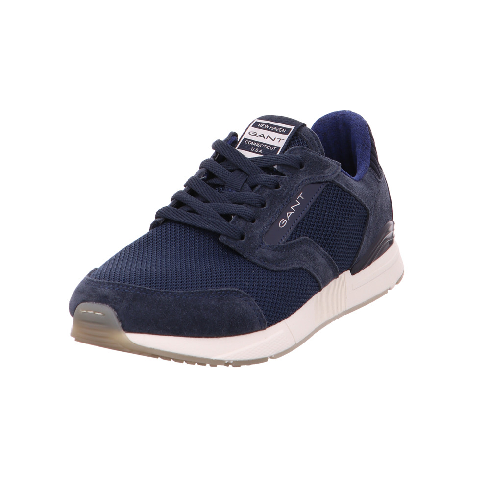 5193c72307dd2e Das Bild wird geladen Gant-Herren-Andrew-Blaue-Leder-Textil-Sneaker