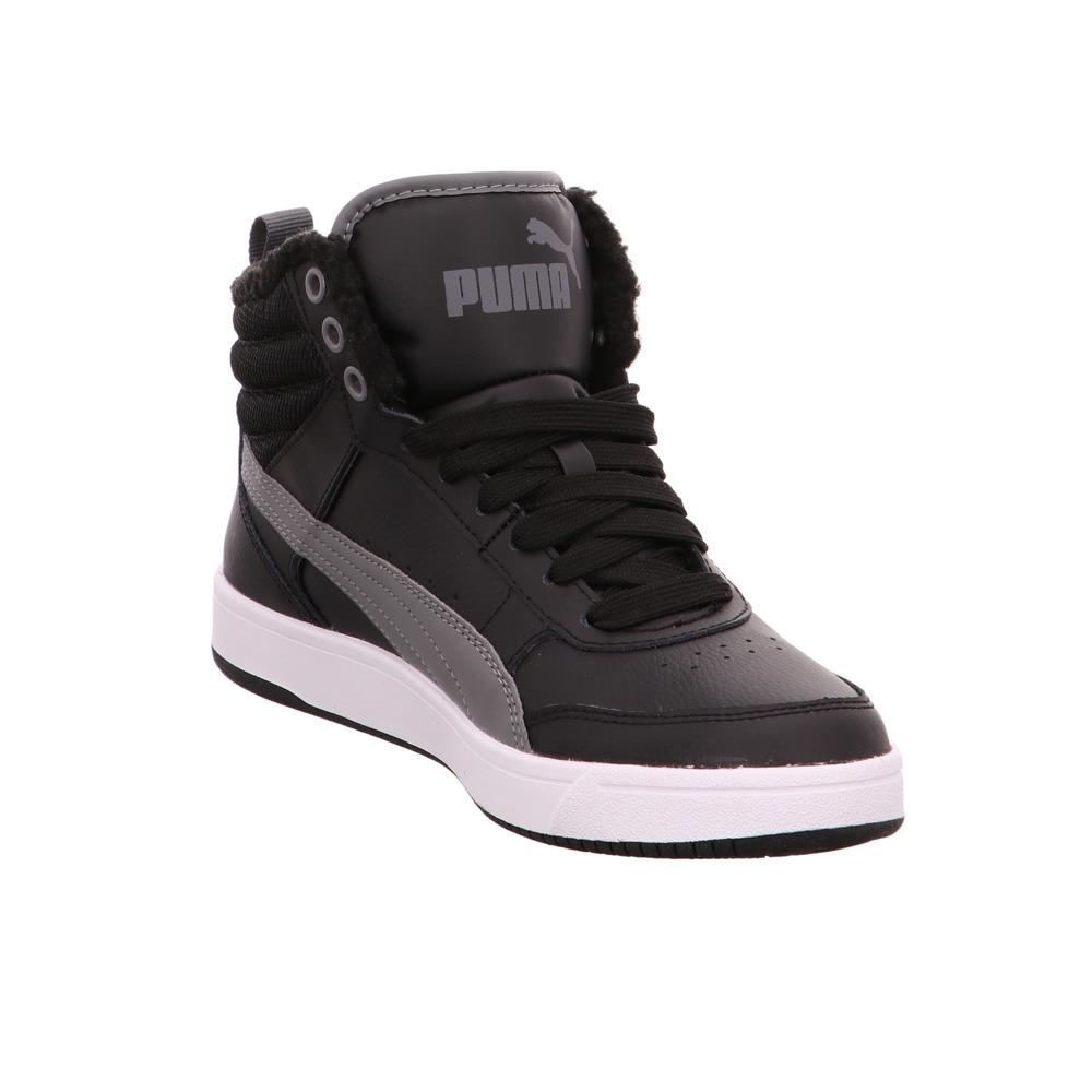 Puma-Rebound-Street-v2-FUR-Herren-Boots-aus-Leder-Textil-in-schwarz-grau