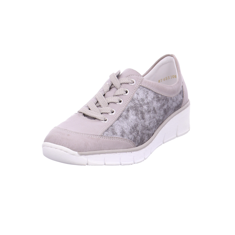 buy popular 78611 0632a Details zu Rieker Damen 53720-80 Beigefarbene Lederimitat Sneaker