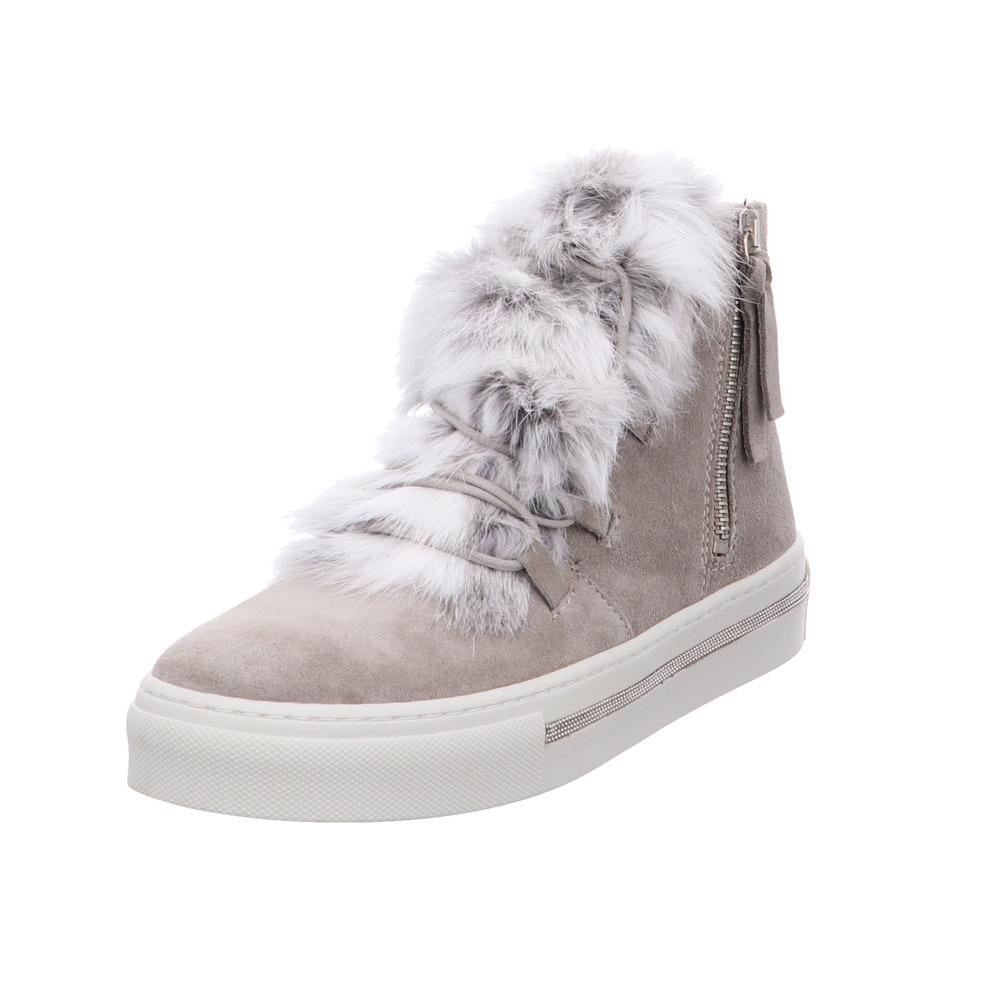 Alpe Illena Damen Stiefel aus Leder Fell in grau